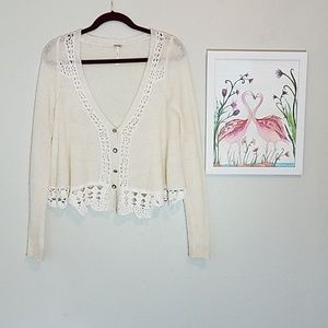 Free People cream wool blend sweater with crochet